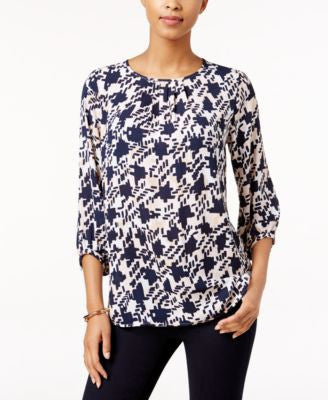 Charter Club Houndstooth-Print Top, Only at Vogily