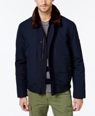 Tommy Hilfiger Men's Faux-Fur-Collar Officer Jacket