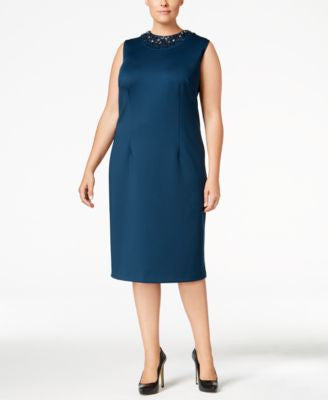 SL Fashions Plus Size Embellished Sheath Dress