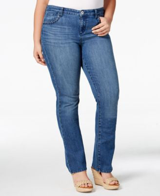 Style & Co. Plus Size Braided-Trim Bootcut Jeans, Only at Vogily