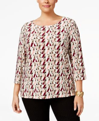 JM Collection Plus Size Printed Jacquard Top, Only at Vogily