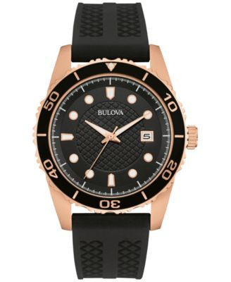 Bulova Men's Black Silicone Strap Watch 43mm 98B262