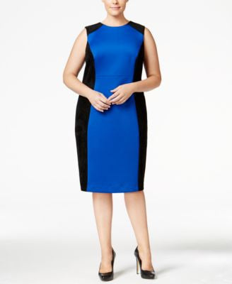 Calvin Klein Plus Size Faux-Suede-Trim Scuba Sheath Dress