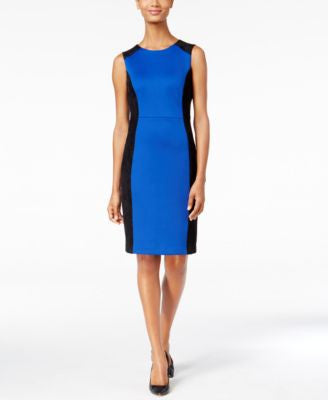 Calvin Klein Petite Faux-Suede-Inset Scuba Sheath Dress
