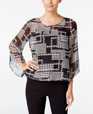 Alfani Petite Printed Angel-Sleeve Blouson Blouse, Only at Vogily