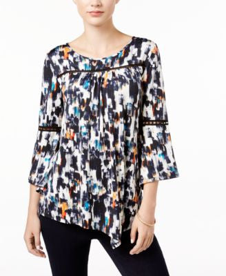 NY Collection Petite Printed Asymmetrical Top