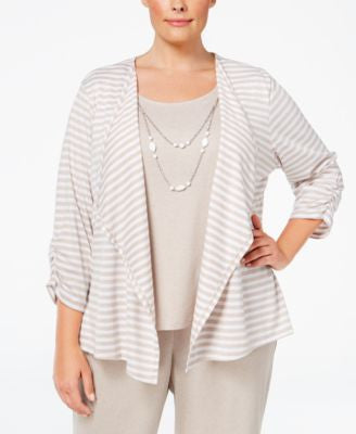 Alfred Dunner Plus Size Acadia Collection Striped Layered-Look Top