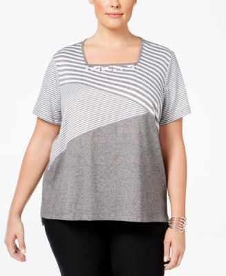 Alfred Dunner Plus Size Acadia Collection Embellished Striped Top