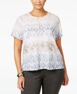 Alfred Dunner Plus Size Acadia Collection Printed Jacquard T-Shirt