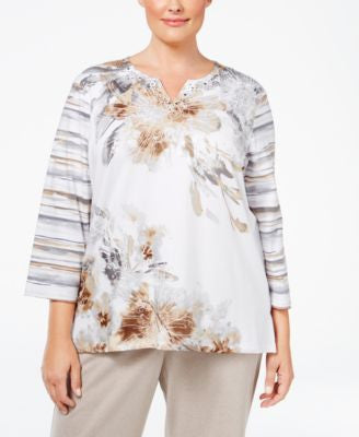 Alfred Dunner Plus Size Acadia Collection Printed Top