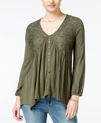 American Rag Lace Handkerchief-Hem Peasant Top, Only at Vogily