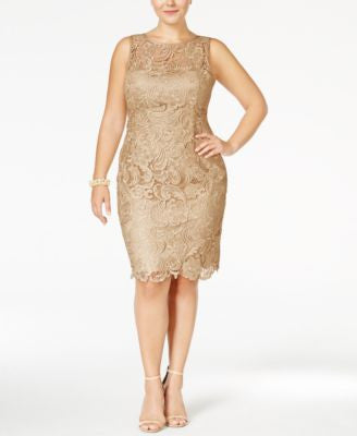 Adrianna Papell Plus Size Dress, Sleeveless Lace Sheath