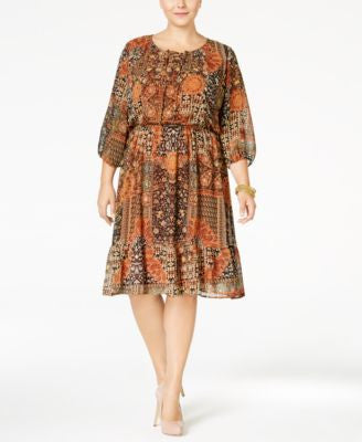 Style & Co. Plus Size Printed Peasant Dress, Only at Vogily