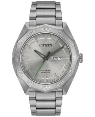 Citizen Men's Eco-Drive Silver-Tone Titanium Bracelet Watch 44mm AW0060-54A