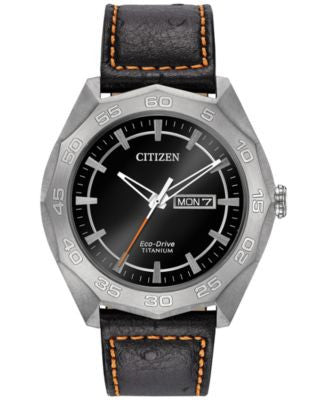 Citizen Men's Eco-Drive Black Leather Strap Watch 44mm AW0060-03E