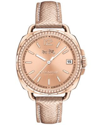 COACH Women's Tatum Pink Leather Strap Watch 34mm 14502629