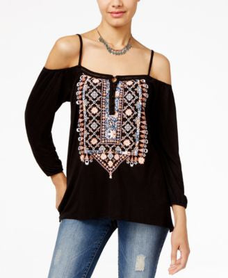 American Rag Printed Cold-Shoulder Top, Only at Vogily
