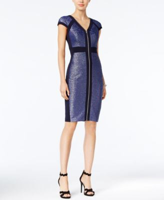 JAX Metallic Colorblocked Zip-Front Bodycon Dress
