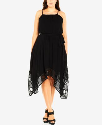 City Chic Plus Size Crochet Handkerchief-Hem Dress