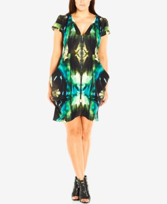 City Chic Plus Size Zip-Front Ikat-Print Tunic Dress