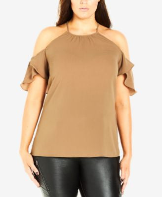 City Chic Plus Size Cold-Shoulder Racerback Top