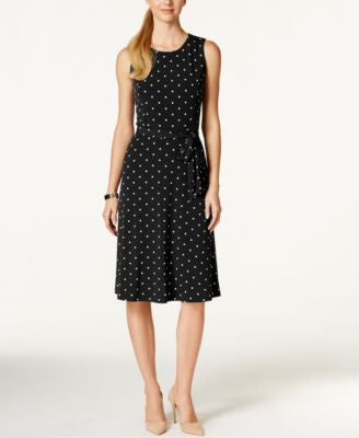 Charter Club Dot-Print Tie-Waist Dress, Only at Vogily