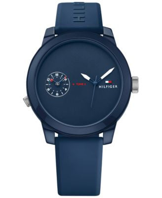 Tommy Hilfiger Men's Cool Sport Navy Silicone Strap Watch 42mm 1791325