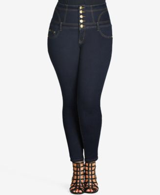 City Chic Plus Size Dark Wash High-Waist Skinny Jeans