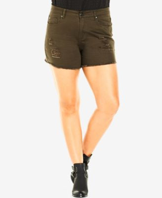 City Chic Plus Size Black Wash Ripped Denim Shorts