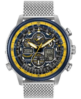 Citizen Men's Analog-Digital Chronograph Eco-Drive Navihawk A-T Stainless Steel Mesh Bracelet Watch