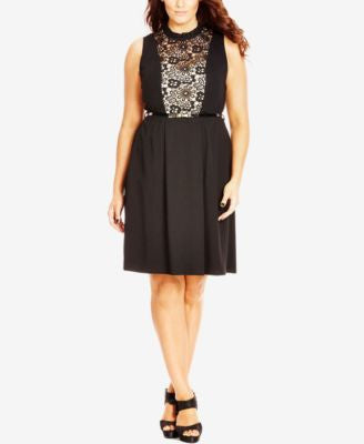 City Chic Plus Size Lace Illusion Fit & Flare Dress