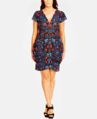 City Chic Plus Size Zip-Front Printed Tunic Dress