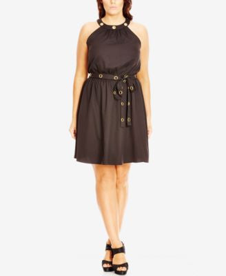 City Chic Plus Size Belted Hardware Halter Dress