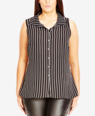 City Chic Plus Size Sleeveless Striped High-Low Shirt