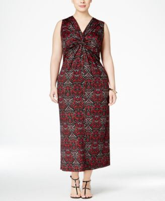 NY Collection Plus Size Knot-Front Printed Maxi Dress