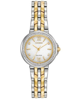 Citizen Women's Eco-Drive Diamond Accent Two-Tone Stainless Steel Bracelet Watch 28mm EM0444-56A