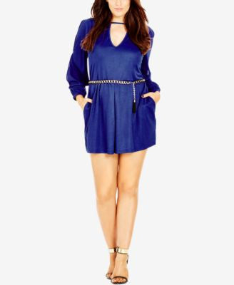 City Chic Plus Size Long-Sleeve Cutout Romper