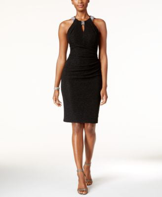 Betsy & Adam Embellished Keyhole Sheath Dress