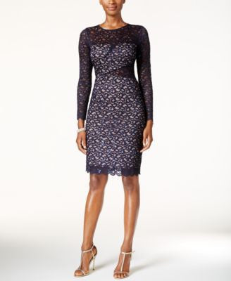 Betsy & Adam Sequined Lace Illusion Sheath Dress