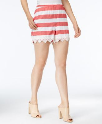 kensie Striped Embroidered-Hem Shorts