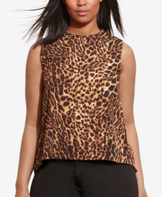 Lauren Ralph Lauren Plus Size Asymmetrical-Back Crepe Tank Top