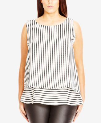 City Chic Plus Size Striped Layered Tank Top