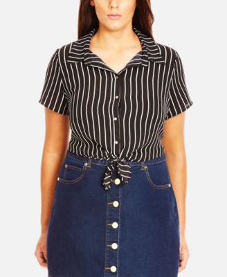 City Chic Plus Size Tie-Front Striped Shirt