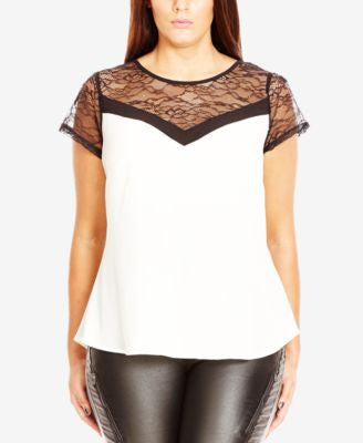 City Chic Plus Size Lace Illusion T-Shirt