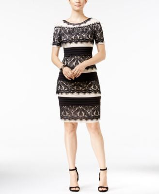 JAX Lace-Panel Bodycon Sheath Dress