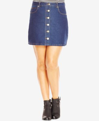 City Chic Plus Size Button-Front Denim Skirt