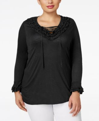 INC International Concepts Plus Size Ruffled Lace-Up Top, Only at Vogily