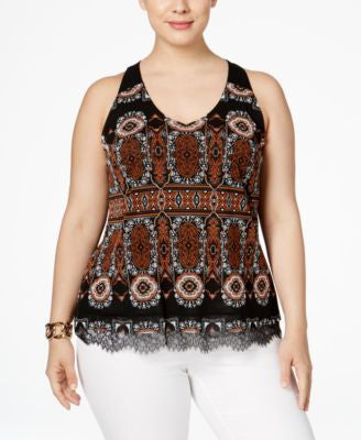 INC International Concepts Plus Size Printed Halter Top, Only at Vogily