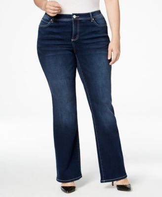 INC International Concepts Plus Size Slim Tech Spirit Wash Bootcut Jeans, Only at Vogily
