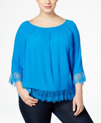 INC International Concepts Plus Size Lace-Trim Peasant Top, Only at Vogily
